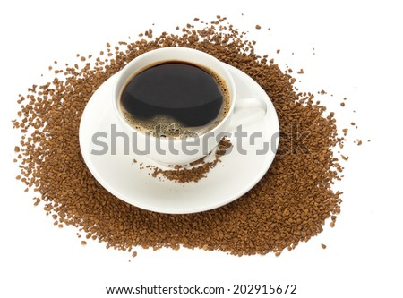 cup of instant coffee. Isolated on white background - stock photo