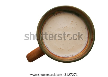 cup of sour milk isolated on white