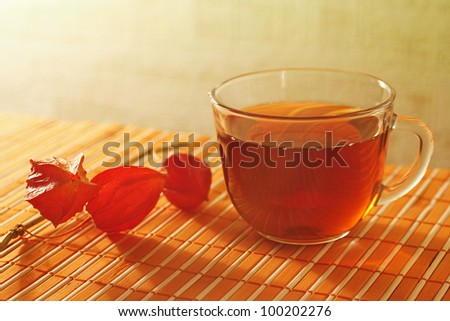 Cup of tea and physalis on a bamboo table cloth still life - stock photo