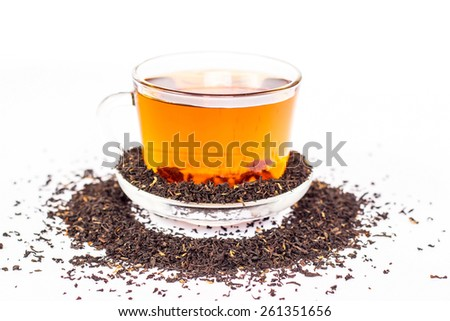 cup of tea and saucer - stock photo