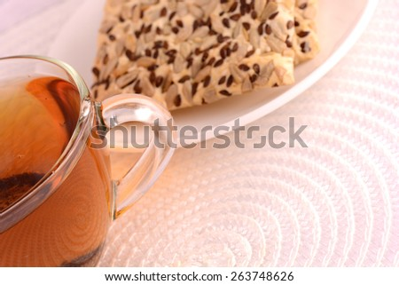 cup of tea (coffee) and some cookies  - stock photo