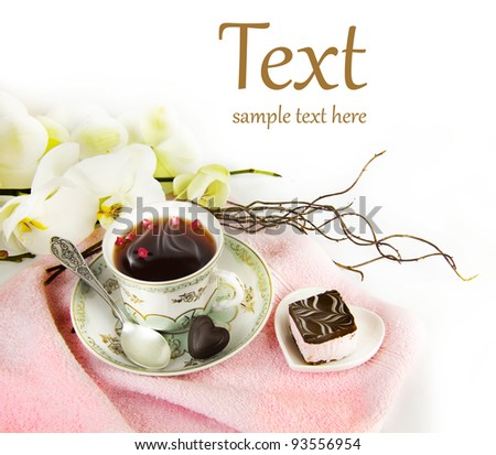 cup of tea in the spa  (With sample text) - stock photo