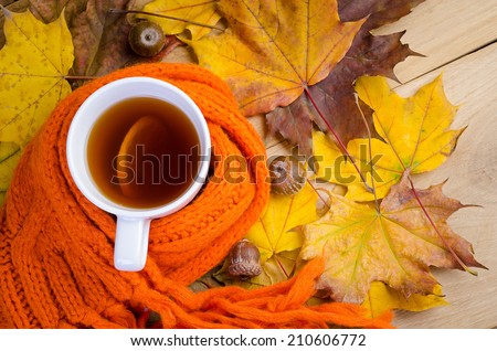 Cup of tea on the wooden board - stock photo