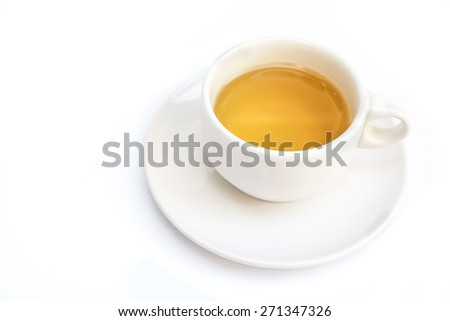 cup of tea on white background. - stock photo