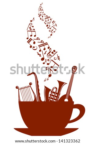 Cup of tea or coffee with musical instruments and waves of notes. Vector version also available in gallery - stock photo