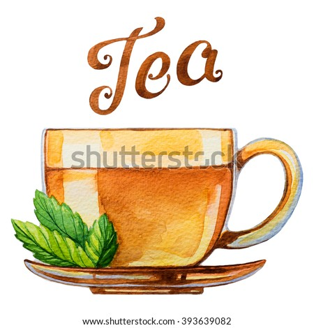 Cup of tea. Watercolor illustration. - stock photo