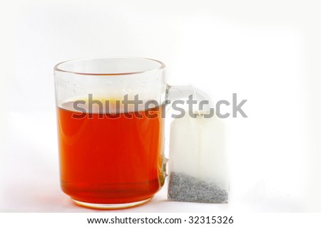 Cup of tea with bag of tea on a white background