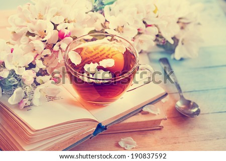 Cup of tea with blossoming spring branch - stock photo