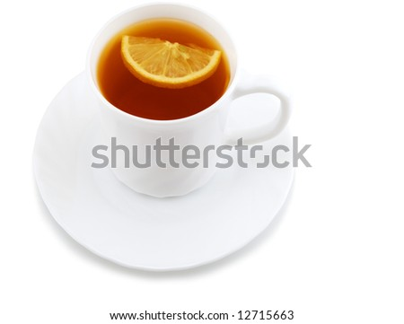 cup of tea with lemon isolated on the white background