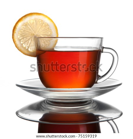 cup of tea with lemon isolated on white - stock photo