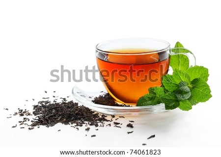 Cup of Tea with Mint Leaf,Isolated on White Background. - stock photo