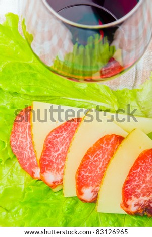 cup of wine with lunch - stock photo