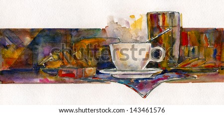 Cup on the bar counter. Watercolor impressionistic painting.