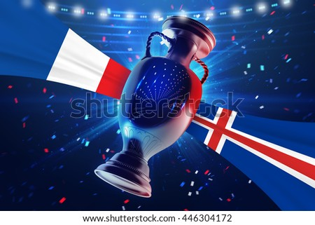 Cup on the football field with flag France vs Iceland. Concept sport. 3d illustration.