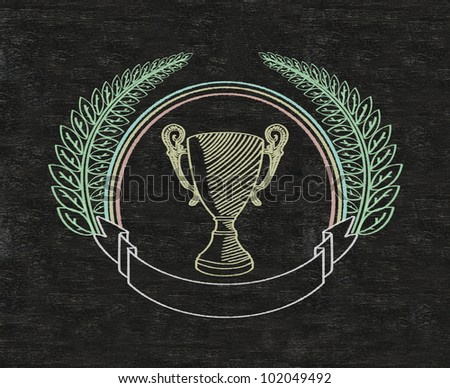 cup on vintage blank banner green leaves written on blackboard background high resolution, easy to use - stock photo