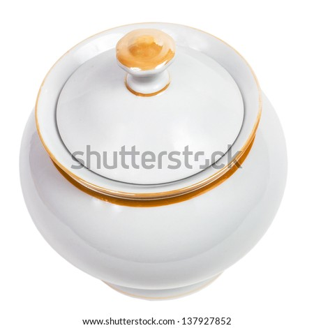 cup sugar-bowl isolated on white background (clipping path) - stock photo