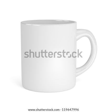 Cup white isolated on white background. 3d render - stock photo