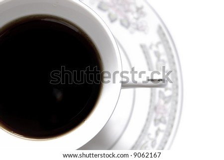 Cup with black coffee, close-up - stock photo