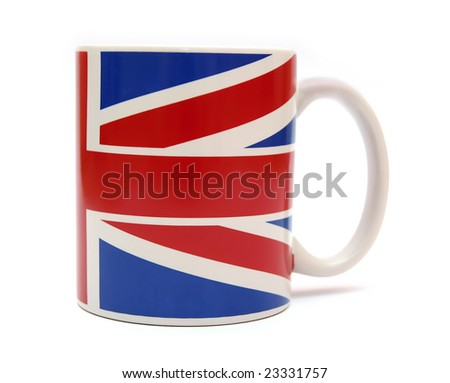 Cup with british flag isolated on white. - stock photo