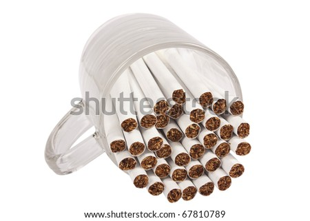 Cup with cigarette isolated on white background with clipping path