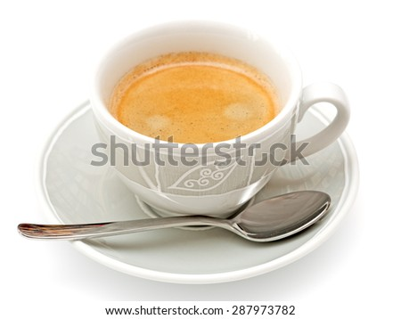 Cup with coffee isolated on white background - stock photo
