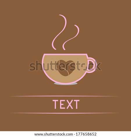 Cup with coffee seeds heart.  Love card. Rasterized copy - stock photo