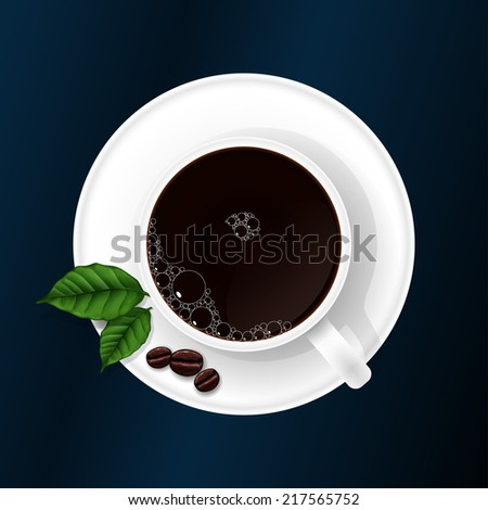 Cup with coffee with coffee grains and coffee sheets