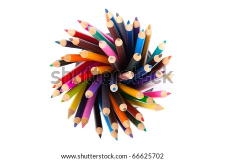 Cup with colorful Pencils - stock photo