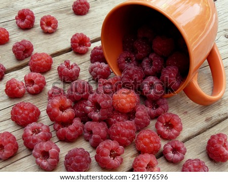 cup with freshly picked raspberries on wooden background - stock photo