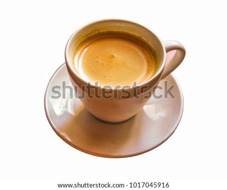 Cup with hot chocolate (cappuccino) on a white background