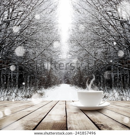 Cup with hot drink on wood table over winter forest  background - stock photo