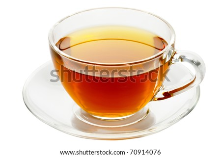 cup with tea isolated on a white background. - stock photo