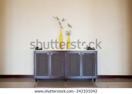 cupboard in hotel corridor - stock photo