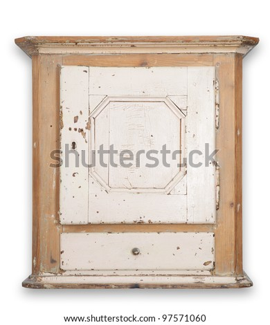 Cupboard or wall cabinet. antique furniture in wood. traditional Danish hanging tobacco cupboard with drawer and door - stock photo