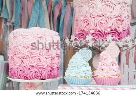 cupcake and cake party decor - stock photo