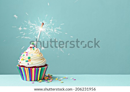 Cupcake decorated with colorful sprinkles and a sparkler - stock photo