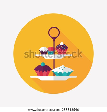 cupcake flat icon with long shadow - stock photo