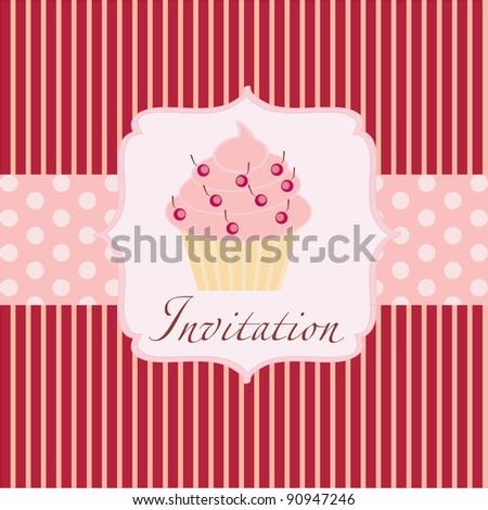 cupcake invitation background - stock photo