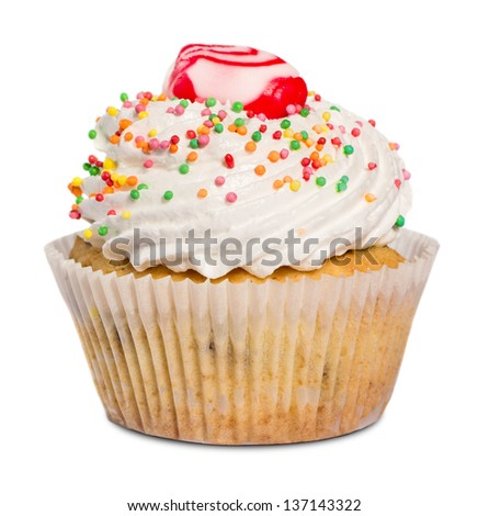 Cupcake isolated on white - stock photo