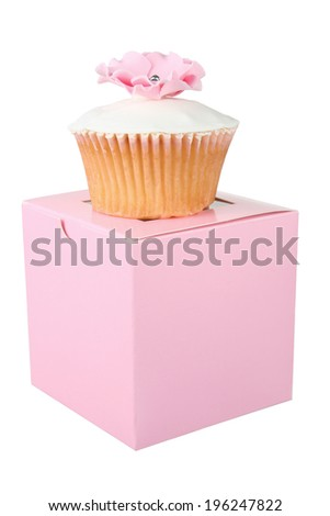 Cupcake on Box with White Background - stock photo