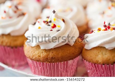 cupcake, set of cupcakes - stock photo
