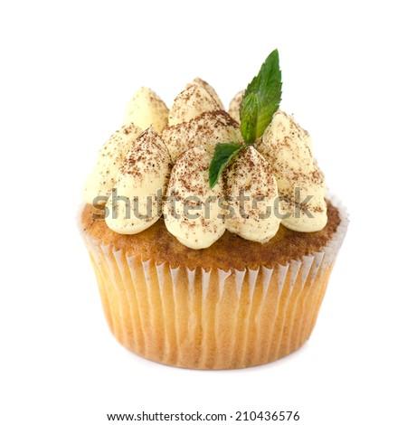 Cupcake Tiramisu decorated with cocoa powder and mint isolated  - stock photo