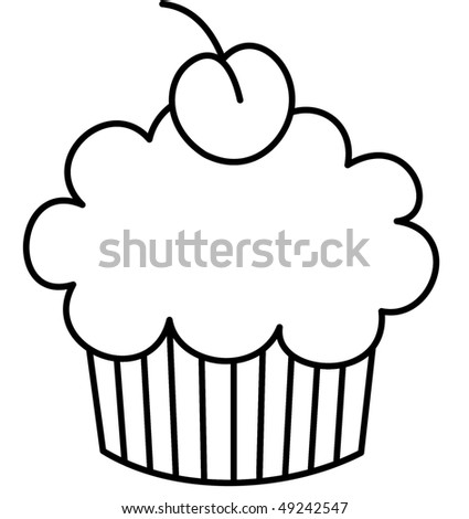 cupcake with a cherry on top - stock photo