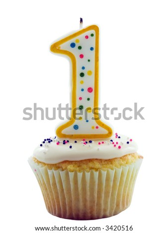 Cupcake with a number one candle on it for birthday, anniversary or other - stock photo