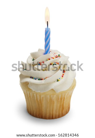 Cupcake with Blue Candle Isolated on White  Background.