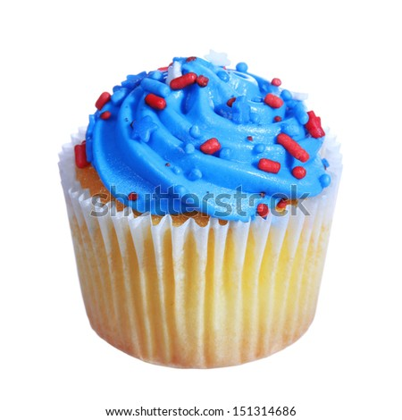 cupcake with blue cream on the top. patriotic decorated, isolated on white background - stock photo