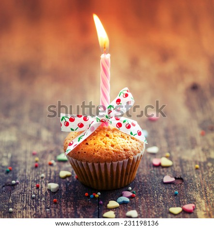 Cupcake with bow and candle - happy birthday card/ Holidays greeting card