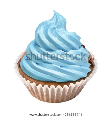 Cupcake with butter cream icing isolated on white. - stock photo