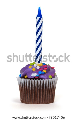 cupcake with candle over white background - stock photo