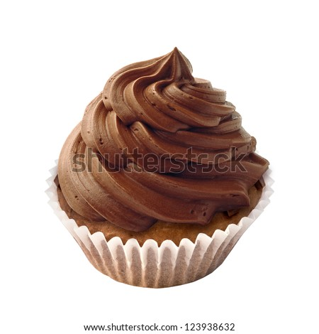 Cupcake with chocolate chips and icing - stock photo